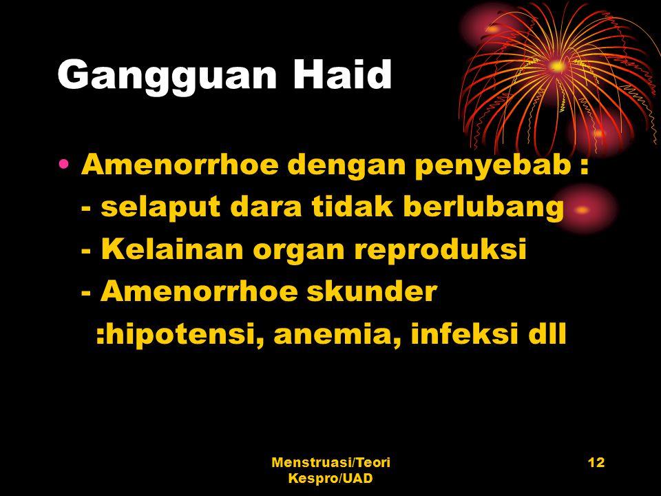 Menstruasi/Teori Kespro/UAD 12 Gangguan Haid Amenorrhoe dengan penyebab : - selaput dara tidak berlubang - Kelainan organ reproduksi - Amenorrhoe skun