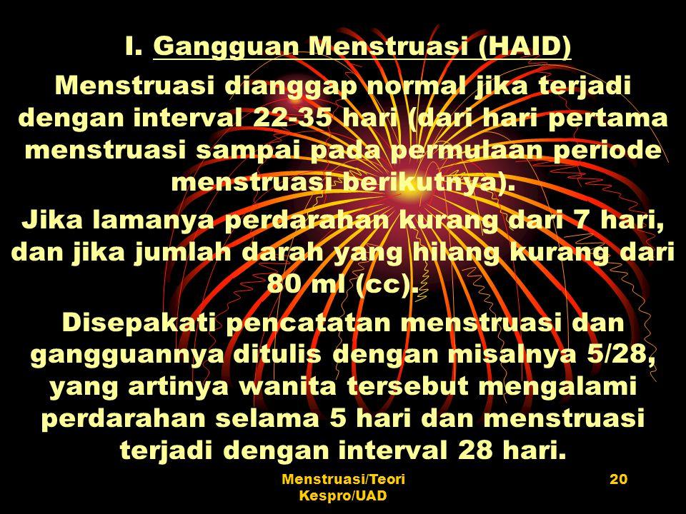Menstruasi/Teori Kespro/UAD 20 I. Gangguan Menstruasi (HAID) Menstruasi dianggap normal jika terjadi dengan interval 22-35 hari (dari hari pertama men