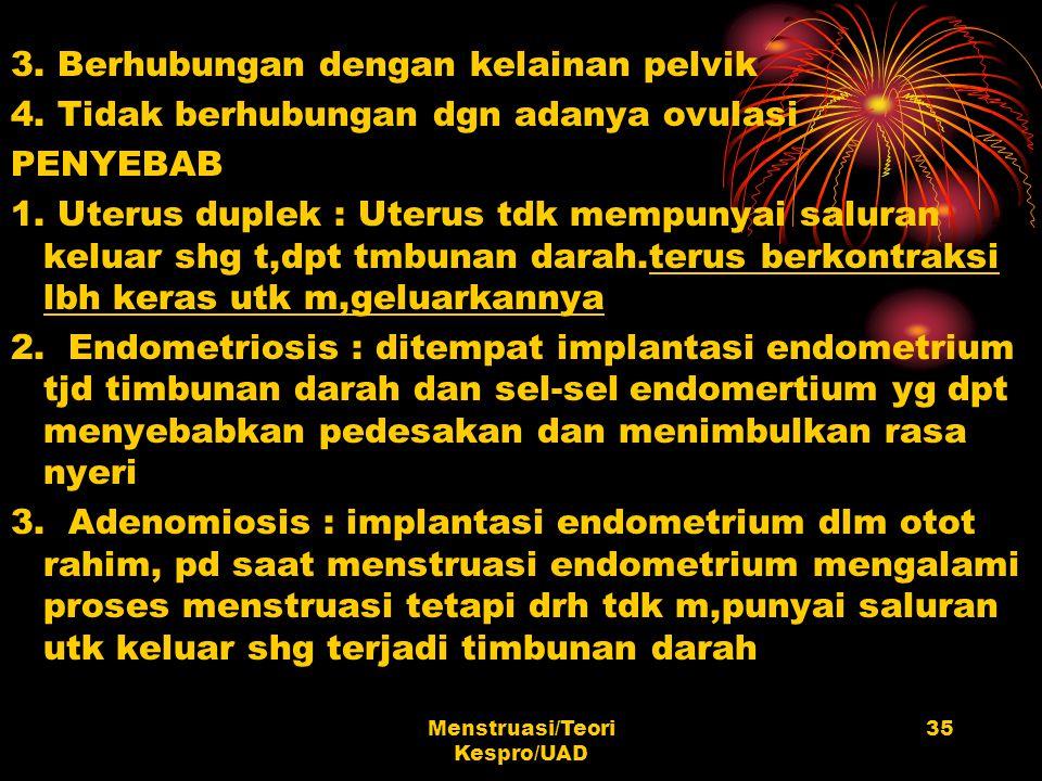 Menstruasi/Teori Kespro/UAD 35 3. Berhubungan dengan kelainan pelvik 4. Tidak berhubungan dgn adanya ovulasi PENYEBAB 1. Uterus duplek : Uterus tdk me