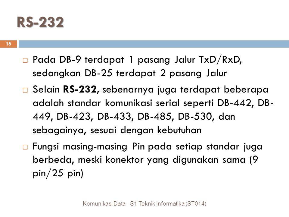 RS-232  Pada DB-9 terdapat 1 pasang Jalur TxD/RxD, sedangkan DB-25 terdapat 2 pasang Jalur  Selain RS-232, sebenarnya juga terdapat beberapa adalah