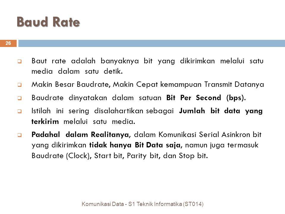 Baud Rate 26 Komunikasi Data - S1 Teknik Informatika (ST014)  Baut rate adalah banyaknya bit yang dikirimkan melalui satu media dalam satu detik.  M