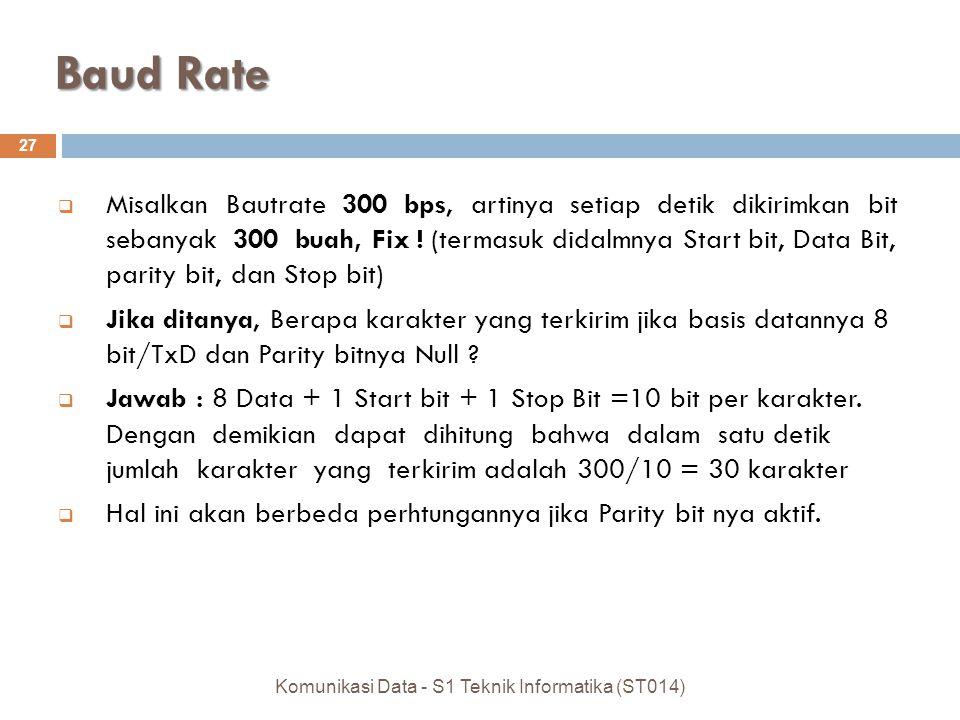 Baud Rate 27 Komunikasi Data - S1 Teknik Informatika (ST014)  Misalkan Bautrate 300 bps, artinya setiap detik dikirimkan bit sebanyak 300 buah, Fix !