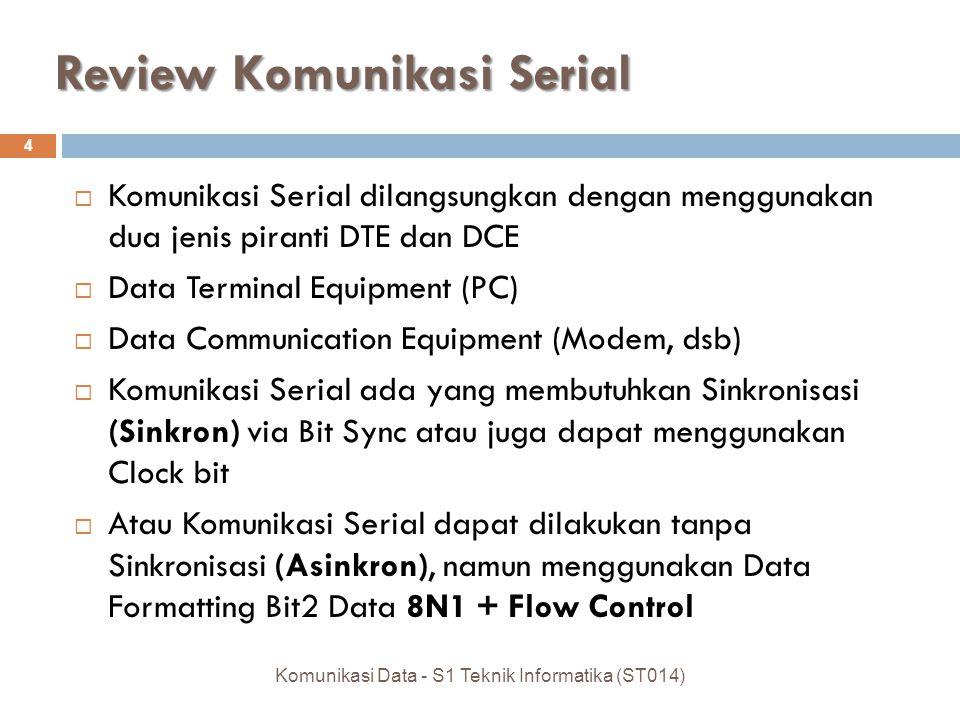 RS-232  Pada DB-9 terdapat 1 pasang Jalur TxD/RxD, sedangkan DB-25 terdapat 2 pasang Jalur  Selain RS-232, sebenarnya juga terdapat beberapa adalah standar komunikasi serial seperti DB-442, DB- 449, DB-423, DB-433, DB-485, DB-530, dan sebagainya, sesuai dengan kebutuhan  Fungsi masing-masing Pin pada setiap standar juga berbeda, meski konektor yang digunakan sama (9 pin/25 pin) 15 Komunikasi Data - S1 Teknik Informatika (ST014)