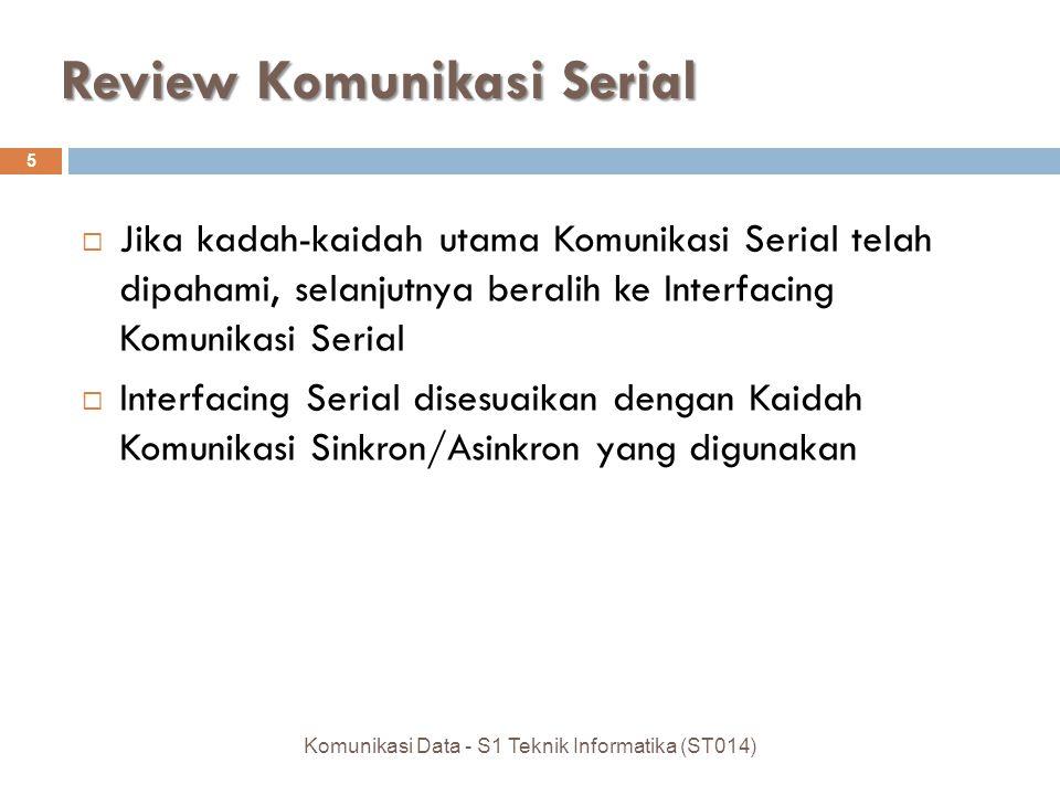 Review Komunikasi Serial  Jika kadah-kaidah utama Komunikasi Serial telah dipahami, selanjutnya beralih ke Interfacing Komunikasi Serial  Interfacin