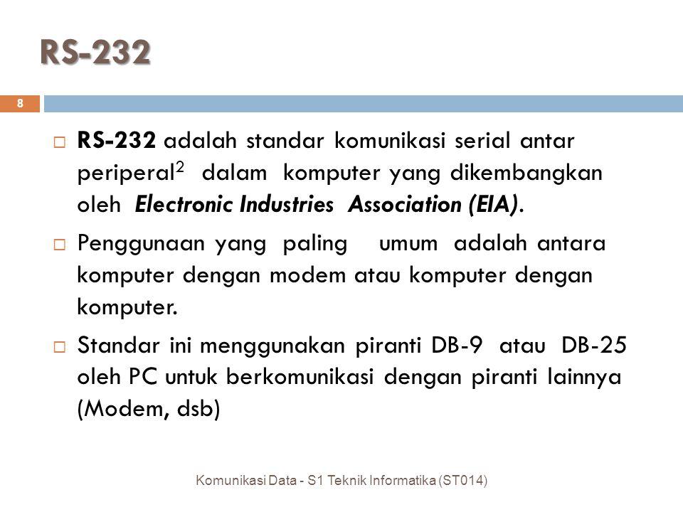 RS-232  RS-232 adalah standar komunikasi serial antar periperal 2 dalam komputer yang dikembangkan oleh Electronic Industries Association (EIA).  Pe