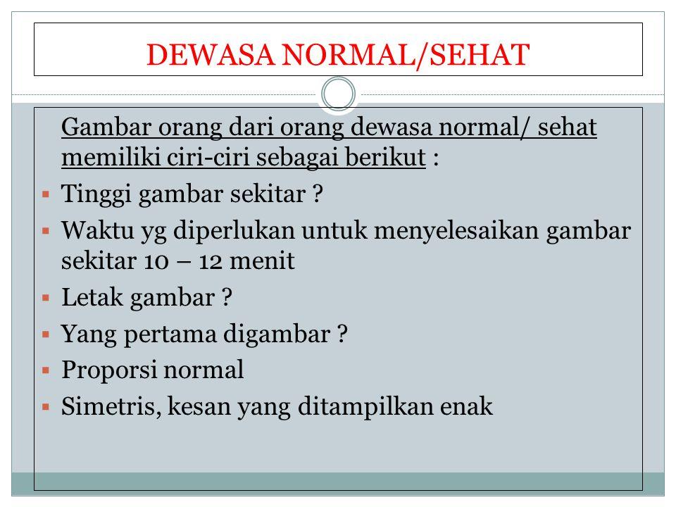DEWASA NORMAL/SEHAT Gambar orang dari orang dewasa normal/ sehat memiliki ciri-ciri sebagai berikut :  Tinggi gambar sekitar ?  Waktu yg diperlukan