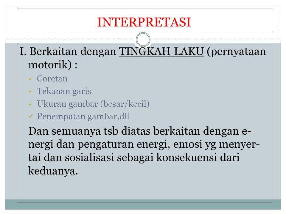 INTERPRETASI II.Berkaitan dengan pernyataan PROYEKTIF = Asosiasi Simbolis.