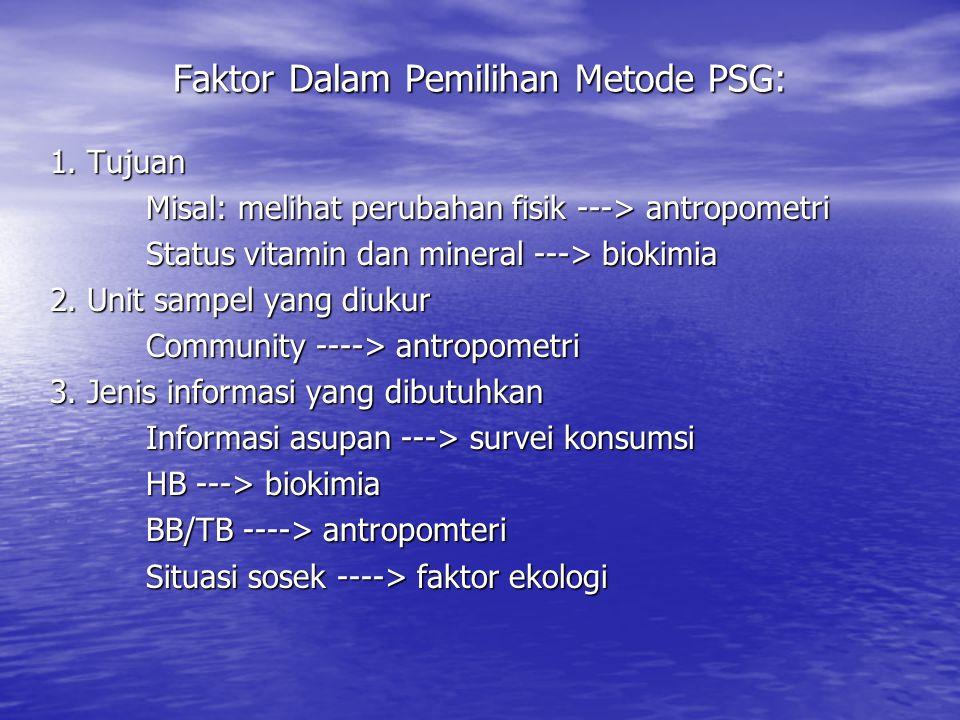 Faktor Dalam Pemilihan Metode PSG: 1. Tujuan Misal: melihat perubahan fisik ---> antropometri Status vitamin dan mineral ---> biokimia 2. Unit sampel