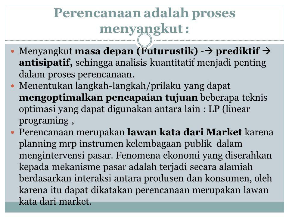 Perencanaan adalah proses menyangkut : Menyangkut masa depan (Futurustik) -  prediktif  antisipatif, sehingga analisis kuantitatif menjadi penting d