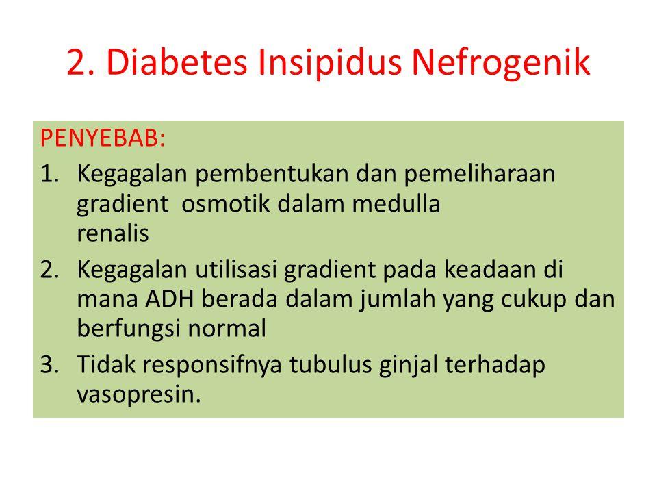 Tanda dan gejala 1.Poliuri : diurisis sekitar 5-15 liter / hari 2.Polidipsi 3.Berat jenis urine sangat rendah 1001- 1005/50-200 mili osmol/kg BB 4.Peningkatan osmolaritas serum > 300 m.