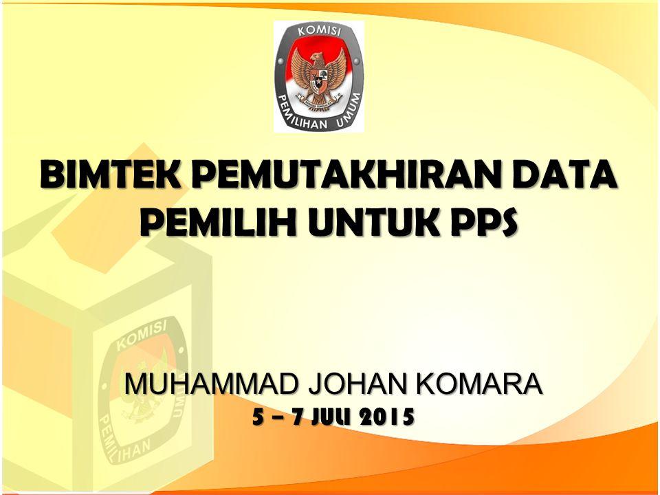 BIMTEK PEMUTAKHIRAN DATA PEMILIH UNTUK PPS MUHAMMAD JOHAN KOMARA 5 – 7 JULI 2015