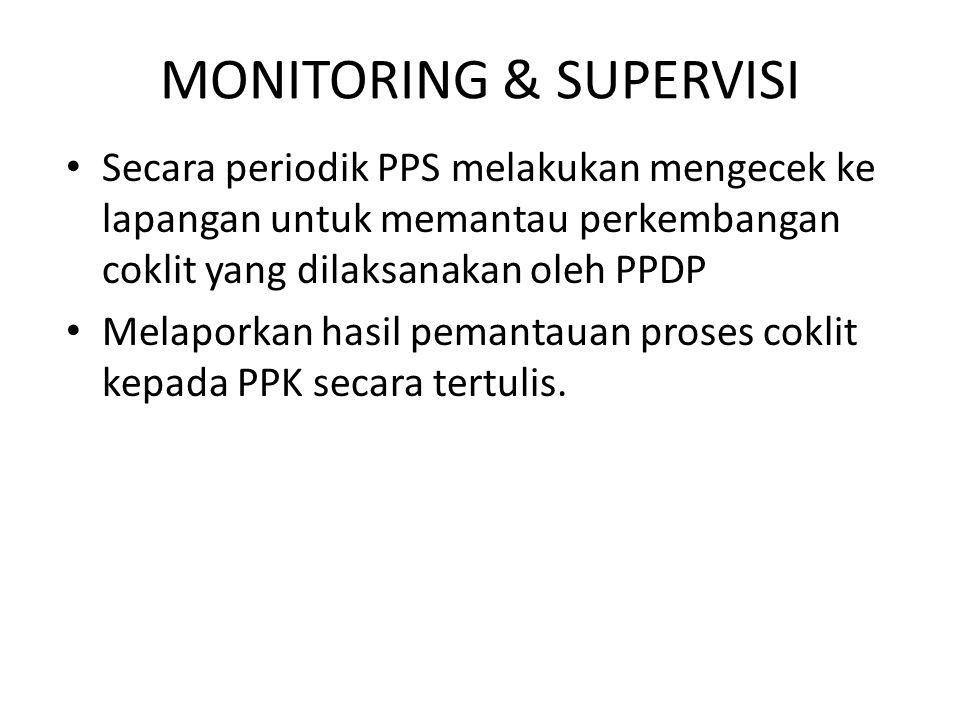 MONITORING & SUPERVISI Secara periodik PPS melakukan mengecek ke lapangan untuk memantau perkembangan coklit yang dilaksanakan oleh PPDP Melaporkan ha