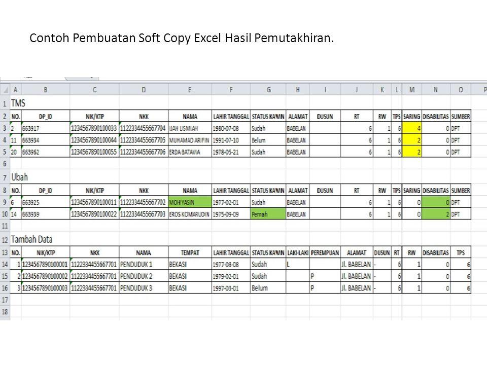 Contoh Pembuatan Soft Copy Excel Hasil Pemutakhiran.