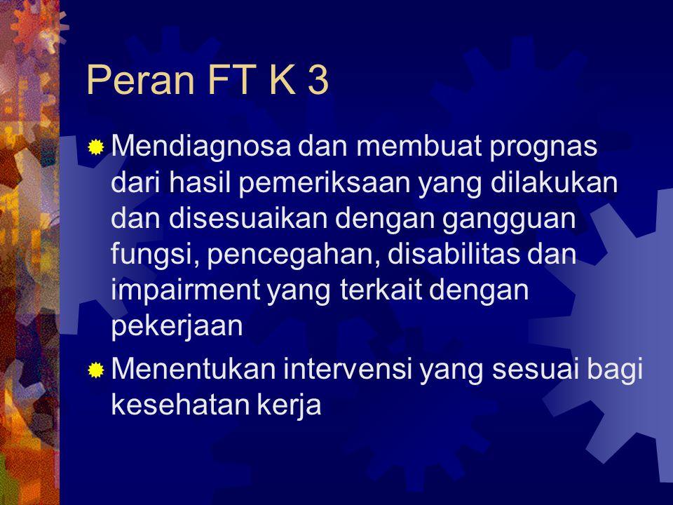 Peran FT K 3  Mendiagnosa dan membuat prognas dari hasil pemeriksaan yang dilakukan dan disesuaikan dengan gangguan fungsi, pencegahan, disabilitas d