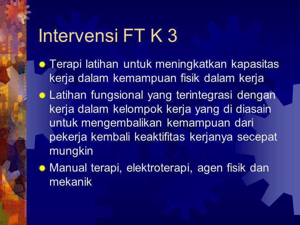 Intervensi FT K 3  Terapi latihan untuk meningkatkan kapasitas kerja dalam kemampuan fisik dalam kerja  Latihan fungsional yang terintegrasi dengan