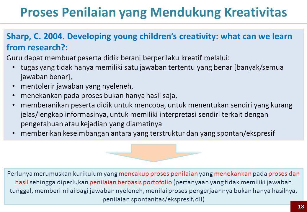 18 Proses Penilaian yang Mendukung Kreativitas Sharp, C. 2004. Developing young children's creativity: what can we learn from research?: Guru dapat me