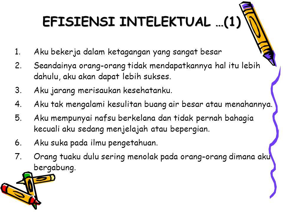 EFISIENSI INTELEKTUAL …(2) 8.Apabila dalam suatu kelompok, aku mengalami kesulitan untuk berfikir hal-hal yang tepat untuk dibicarakan.