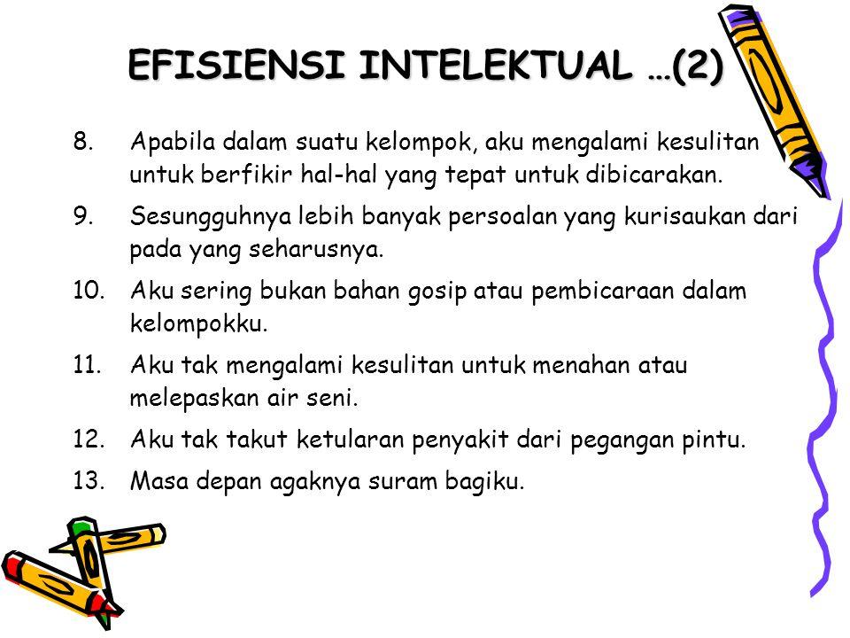 EFISIENSI INTELEKTUAL …(2) 8.Apabila dalam suatu kelompok, aku mengalami kesulitan untuk berfikir hal-hal yang tepat untuk dibicarakan. 9.Sesungguhnya