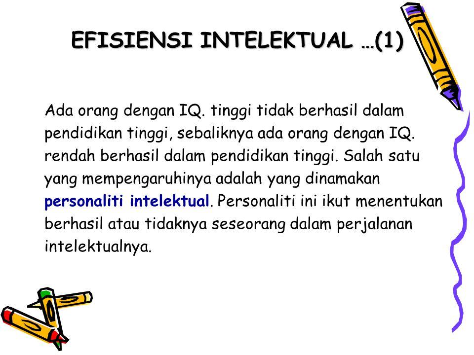 EFISIENSI INTELEKTUAL …(1) Ada orang dengan IQ. tinggi tidak berhasil dalam pendidikan tinggi, sebaliknya ada orang dengan IQ. rendah berhasil dalam p