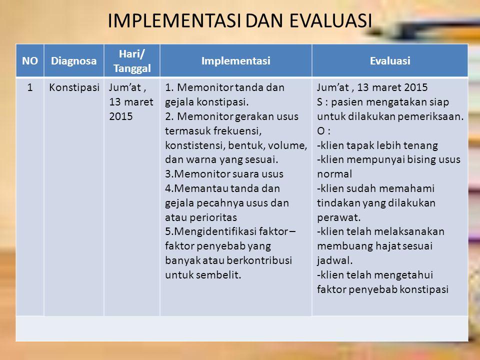IMPLEMENTASI DAN EVALUASI NODiagnosa Hari/ Tanggal ImplementasiEvaluasi 1KonstipasiJum'at, 13 maret 2015 1. Memonitor tanda dan gejala konstipasi. 2.