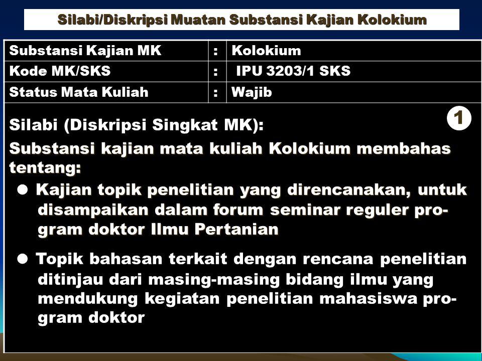 Silabi/Diskripsi Muatan Substansi Kajian Kolokium Substansi Kajian MK:Kolokium Kode MK/SKS: IPU 3203/1 SKS Status Mata Kuliah:Wajib Silabi (Diskripsi
