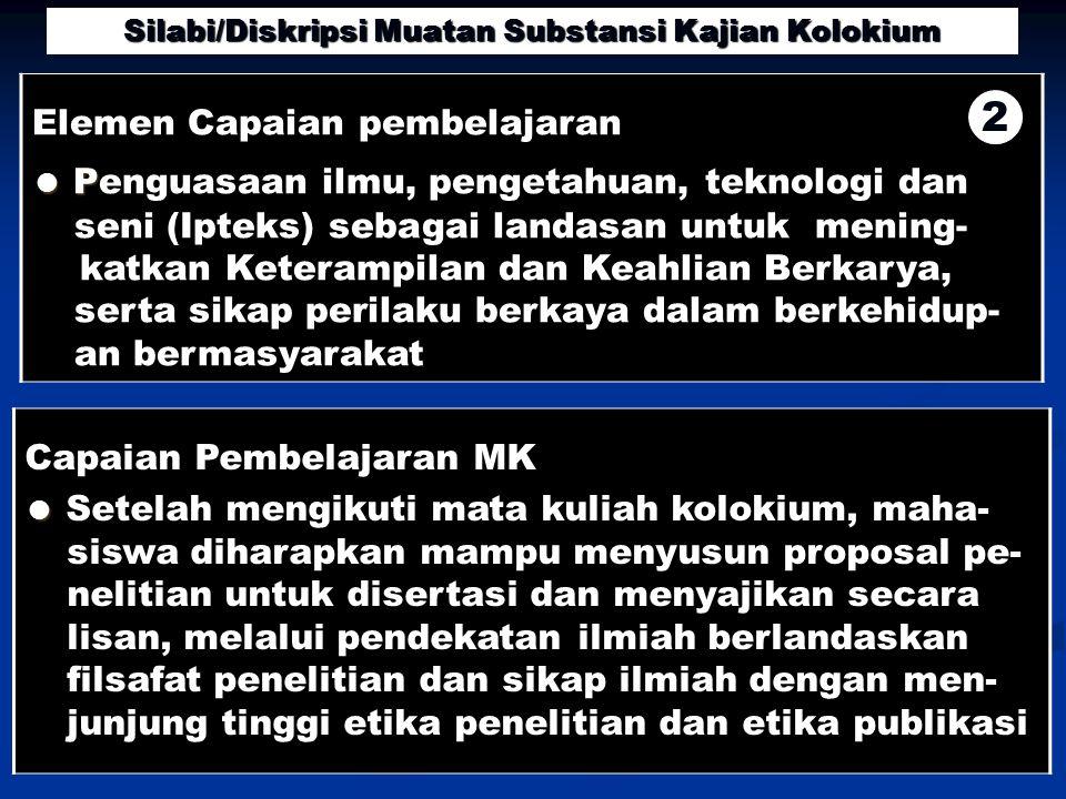 Capaian Pembelajaran MK ● ● Setelah mengikuti mata kuliah kolokium, maha- siswa diharapkan mampu menyusun proposal pe- nelitian untuk disertasi dan me