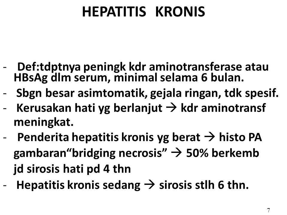 HEPATITIS KRONIS -Def:tdptnya peningk kdr aminotransferase atau HBsAg dlm serum, minimal selama 6 bulan. - Sbgn besar asimtomatik, gejala ringan, tdk