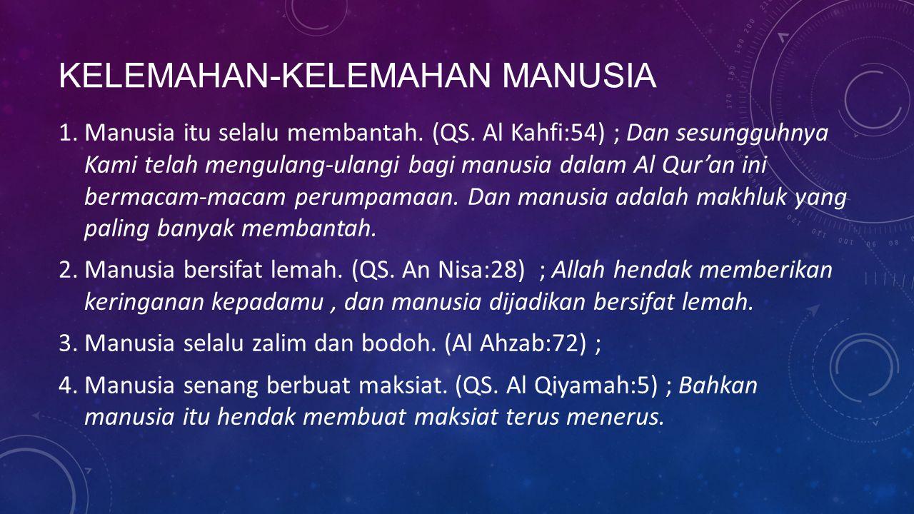 KELEMAHAN-KELEMAHAN MANUSIA 1.Manusia itu selalu membantah. (QS. Al Kahfi:54) ; Dan sesungguhnya Kami telah mengulang-ulangi bagi manusia dalam Al Qur