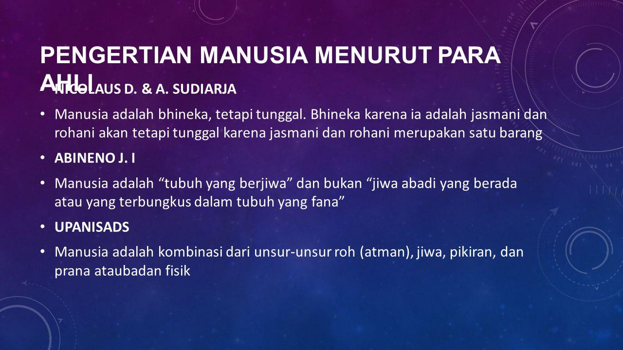 PENGERTIAN MANUSIA MENURUT PARA AHLI NICOLAUS D. & A. SUDIARJA Manusia adalah bhineka, tetapi tunggal. Bhineka karena ia adalah jasmani dan rohani aka