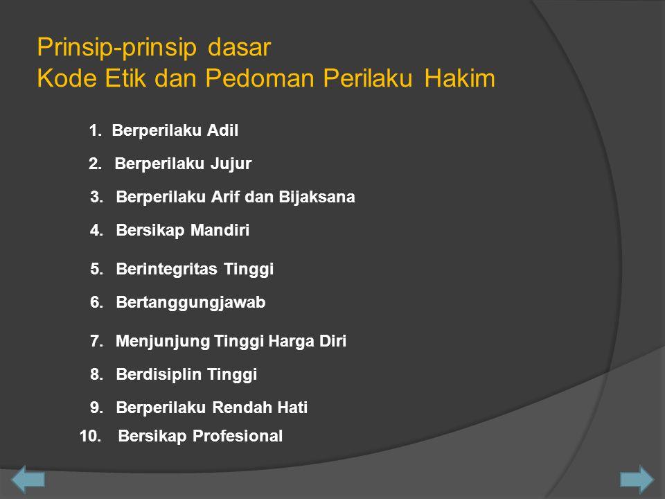 Prinsip-prinsip dasar Kode Etik dan Pedoman Perilaku Hakim 1.Berperilaku AdilBerperilaku Adil 2.Berperilaku Jujur 3.Berperilaku Arif dan Bijaksana 4.B