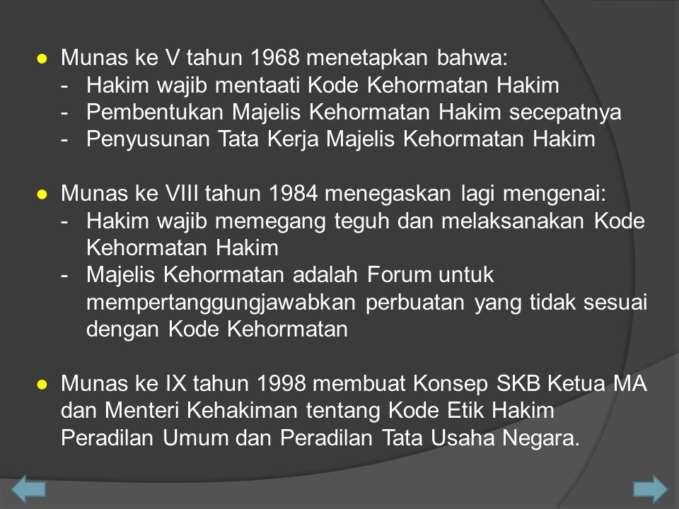 ●Munas ke V tahun 1968 menetapkan bahwa: -Hakim wajib mentaati Kode Kehormatan Hakim -Pembentukan Majelis Kehormatan Hakim secepatnya -Penyusunan Tata