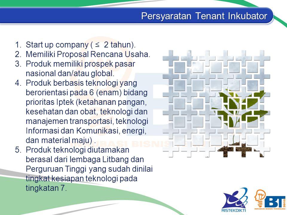 Persyaratan Tenant Inkubator 1.Start up company ( ≤ 2 tahun). 2.Memiliki Proposal Rencana Usaha. 3.Produk memiliki prospek pasar nasional dan/atau glo