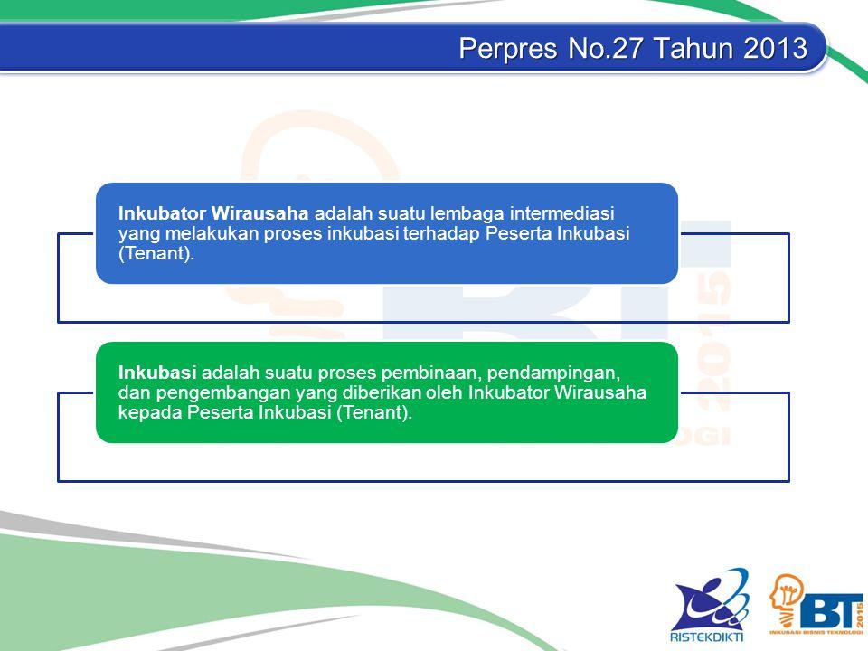 Perpres No.27 Tahun 2013 Inkubator Wirausaha adalah suatu lembaga intermediasi yang melakukan proses inkubasi terhadap Peserta Inkubasi (Tenant). Inku