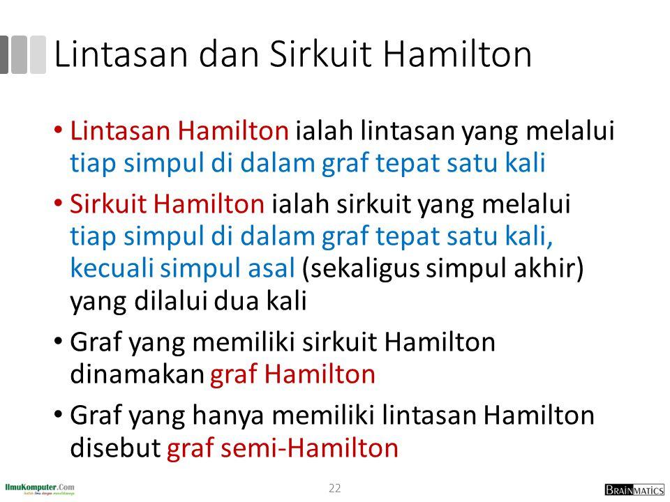 Lintasan dan Sirkuit Hamilton Lintasan Hamilton ialah lintasan yang melalui tiap simpul di dalam graf tepat satu kali Sirkuit Hamilton ialah sirkuit yang melalui tiap simpul di dalam graf tepat satu kali, kecuali simpul asal (sekaligus simpul akhir) yang dilalui dua kali Graf yang memiliki sirkuit Hamilton dinamakan graf Hamilton Graf yang hanya memiliki lintasan Hamilton disebut graf semi-Hamilton 22