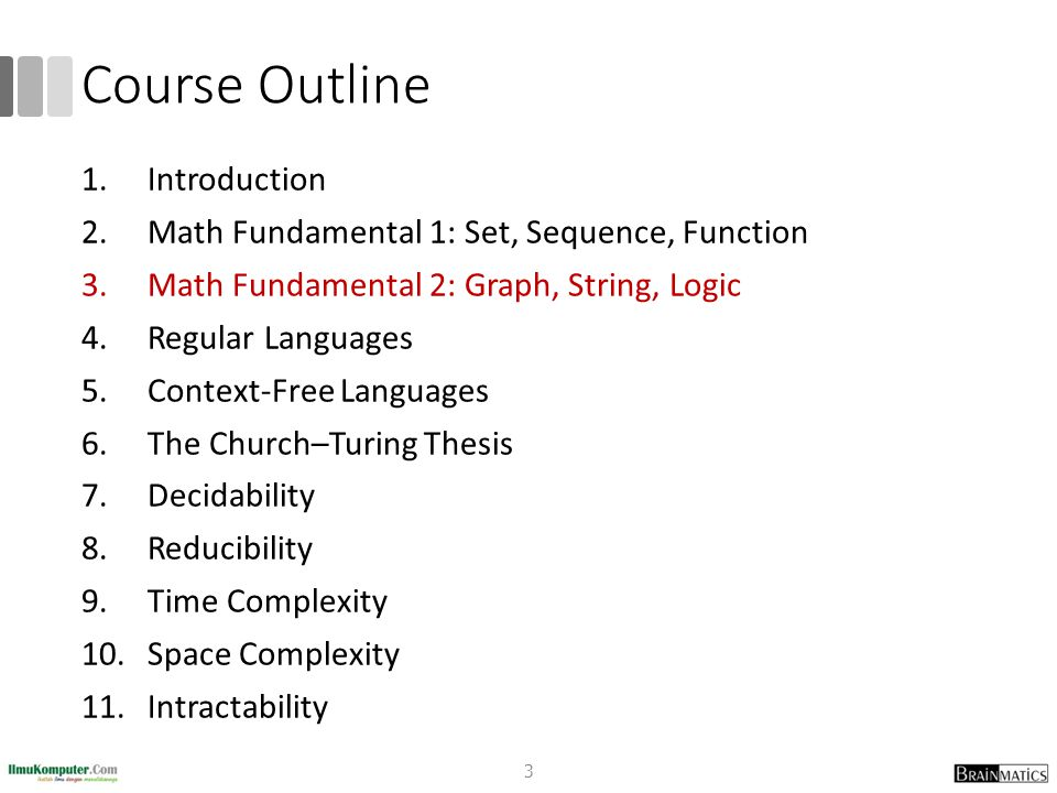 Course Outline 1.Introduction 2.Math Fundamental 1: Set, Sequence, Function 3.Math Fundamental 2: Graph, String, Logic 4.Regular Languages 5.Context-F