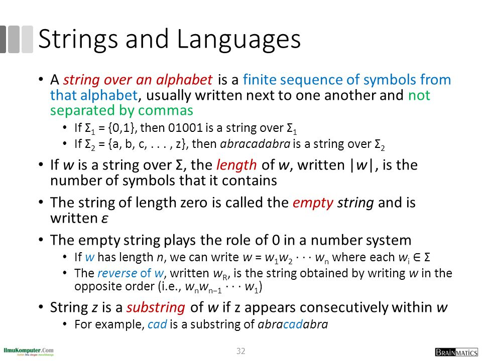 Strings and Languages A string over an alphabet is a finite sequence of symbols from that alphabet, usually written next to one another and not separa