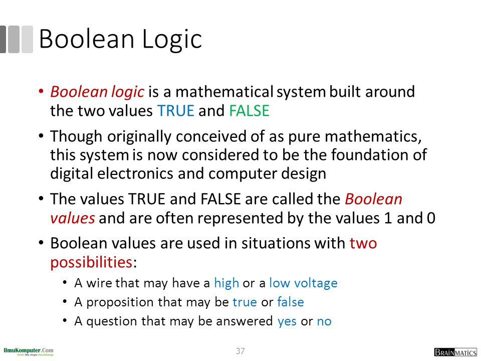 Boolean Logic Boolean logic is a mathematical system built around the two values TRUE and FALSE Though originally conceived of as pure mathematics, th