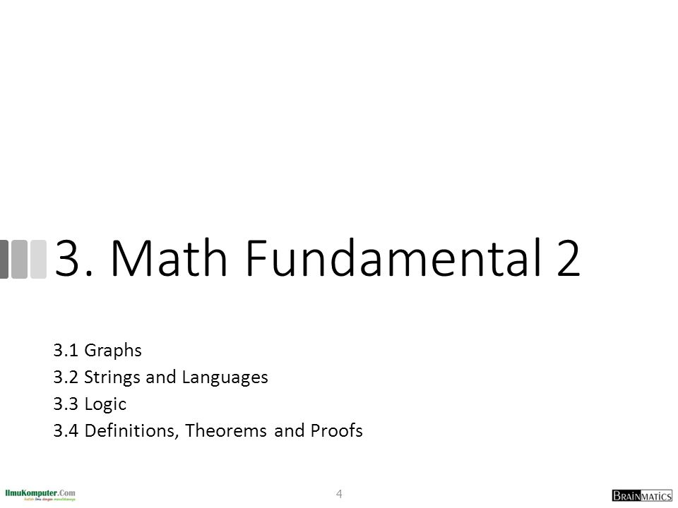 3. Math Fundamental 2 3.1 Graphs 3.2 Strings and Languages 3.3 Logic 3.4 Definitions, Theorems and Proofs 4