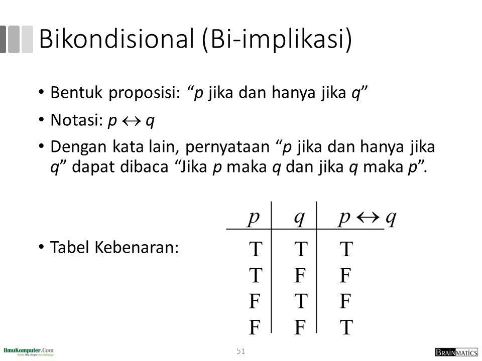 Bikondisional (Bi-implikasi) Bentuk proposisi: p jika dan hanya jika q Notasi: p  q Dengan kata lain, pernyataan p jika dan hanya jika q dapat dibaca Jika p maka q dan jika q maka p .
