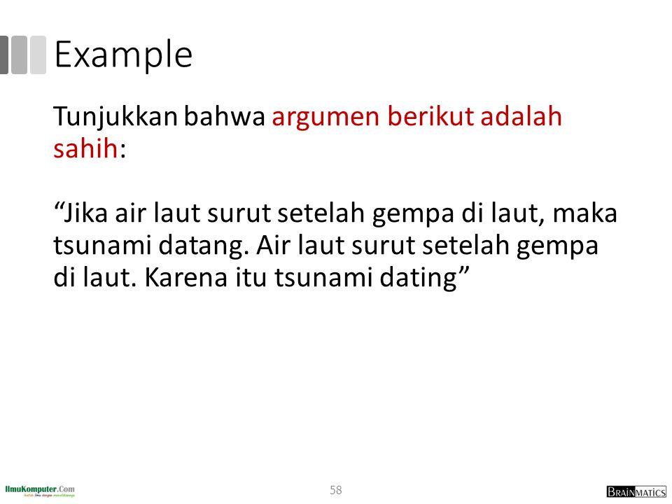 Example Tunjukkan bahwa argumen berikut adalah sahih: Jika air laut surut setelah gempa di laut, maka tsunami datang.