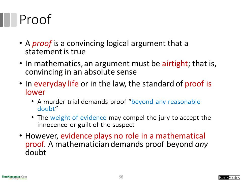 Proof A proof is a convincing logical argument that a statement is true In mathematics, an argument must be airtight; that is, convincing in an absolu
