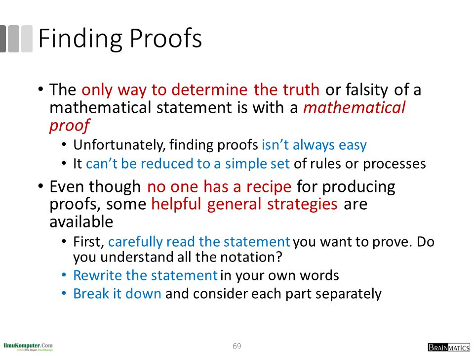 Finding Proofs The only way to determine the truth or falsity of a mathematical statement is with a mathematical proof Unfortunately, finding proofs i