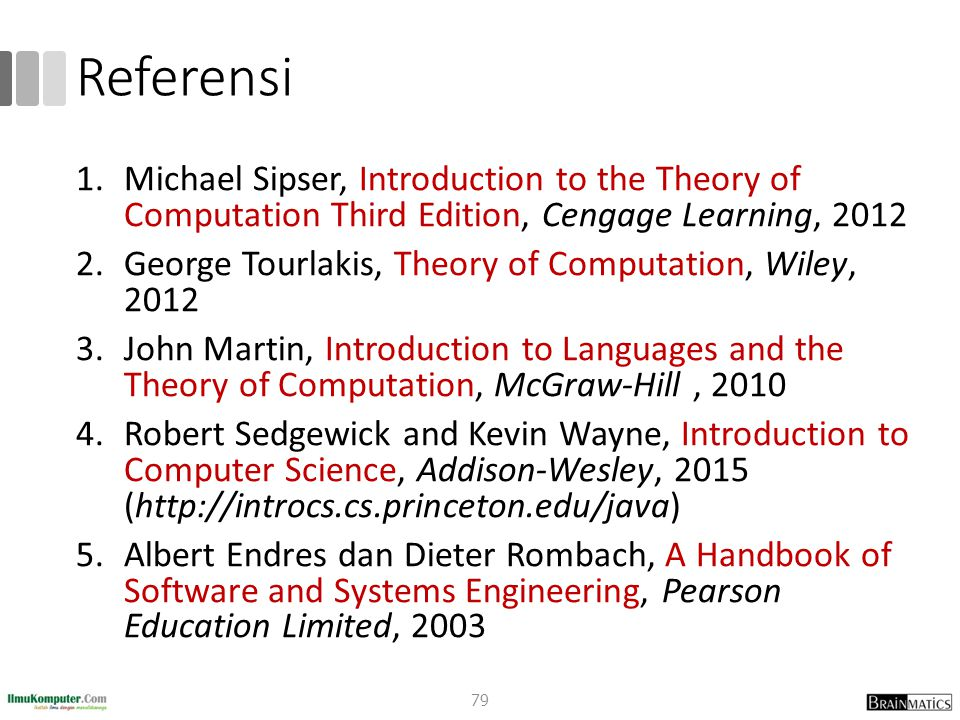 Referensi 1.Michael Sipser, Introduction to the Theory of Computation Third Edition, Cengage Learning, 2012 2.George Tourlakis, Theory of Computation,