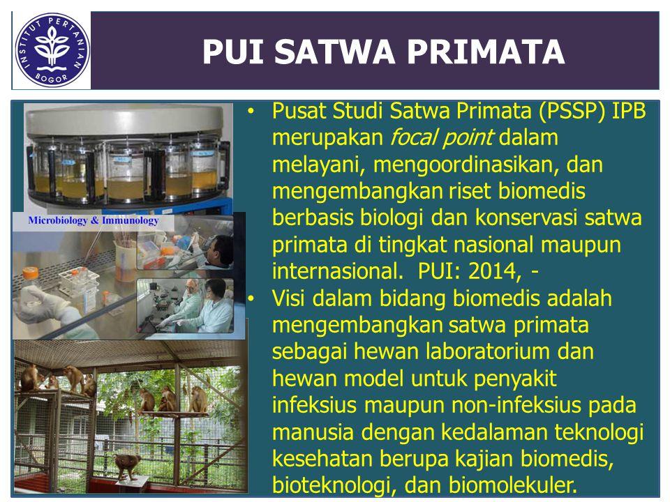 PUI SATWA PRIMATA Pusat Studi Satwa Primata (PSSP) IPB merupakan focal point dalam melayani, mengoordinasikan, dan mengembangkan riset biomedis berbas