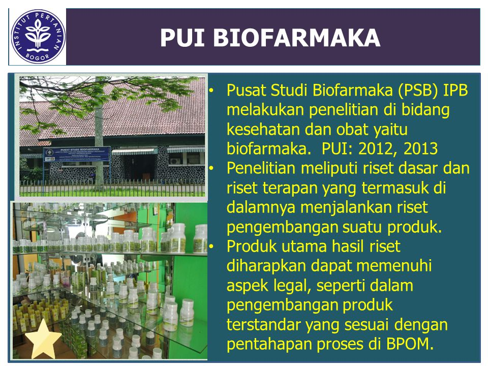 PUI BIOFARMAKA Pusat Studi Biofarmaka (PSB) IPB melakukan penelitian di bidang kesehatan dan obat yaitu biofarmaka. PUI: 2012, 2013 Penelitian meliput