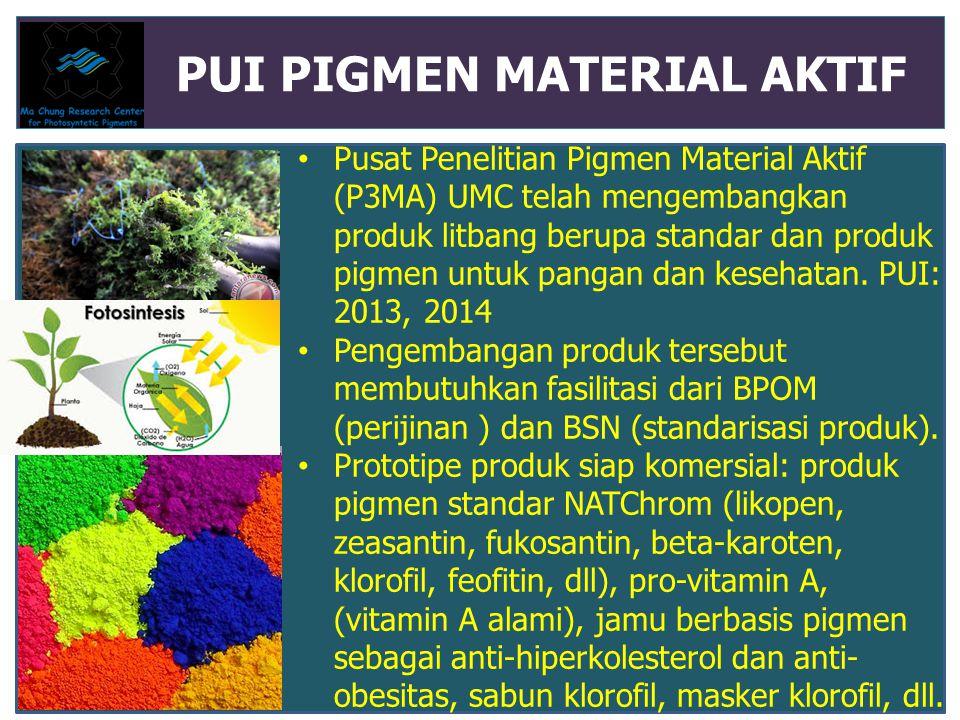 PUI PIGMEN MATERIAL AKTIF Pusat Penelitian Pigmen Material Aktif (P3MA) UMC telah mengembangkan produk litbang berupa standar dan produk pigmen untuk