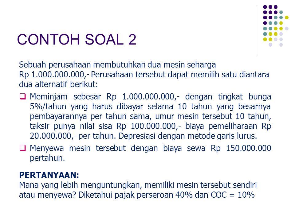CONTOH SOAL 2 Sebuah perusahaan membutuhkan dua mesin seharga Rp 1.000.000.000,- Perusahaan tersebut dapat memilih satu diantara dua alternatif beriku