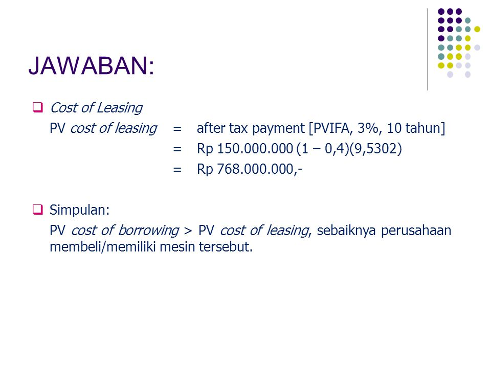  Cost of Leasing PV cost of leasing=after tax payment [PVIFA, 3%, 10 tahun] =Rp 150.000.000 (1 – 0,4)(9,5302) =Rp 768.000.000,-  Simpulan: PV cost o