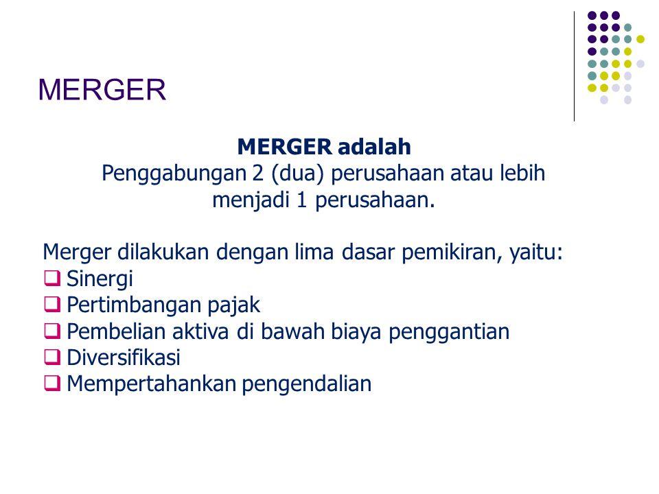 MERGER MERGER adalah Penggabungan 2 (dua) perusahaan atau lebih menjadi 1 perusahaan. Merger dilakukan dengan lima dasar pemikiran, yaitu:  Sinergi 
