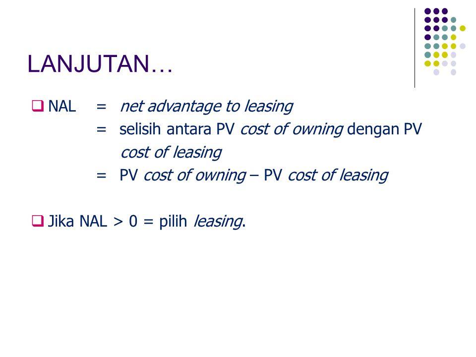 LANJUTAN…  NAL=net advantage to leasing =selisih antara PV cost of owning dengan PV cost of leasing =PV cost of owning – PV cost of leasing  Jika NAL > 0 = pilih leasing.